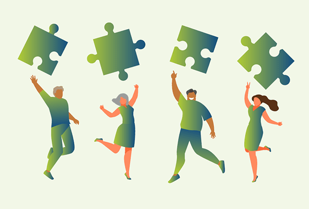 Vier geïllustreerde mensen maken springende beweging en gooien puzzelstuk omhoog