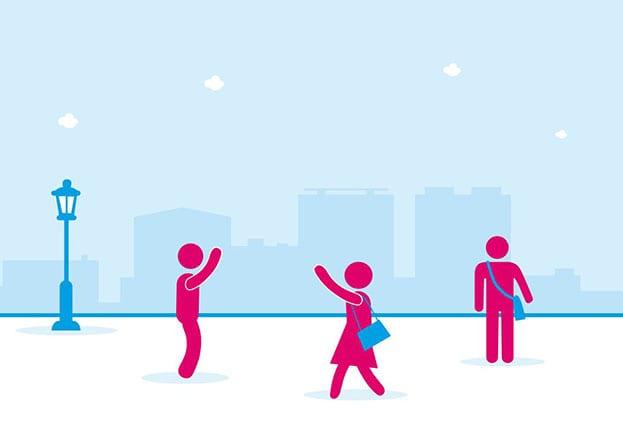 Illustratie van drie personen op straat, waarvan 2 naar elkaar zwaaien