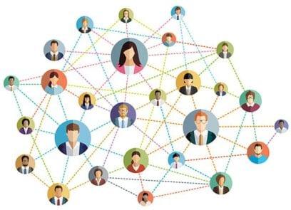 Illustraties van gezichten, met elkaar verbonden door lijnen, geven samen een netwerk weer
