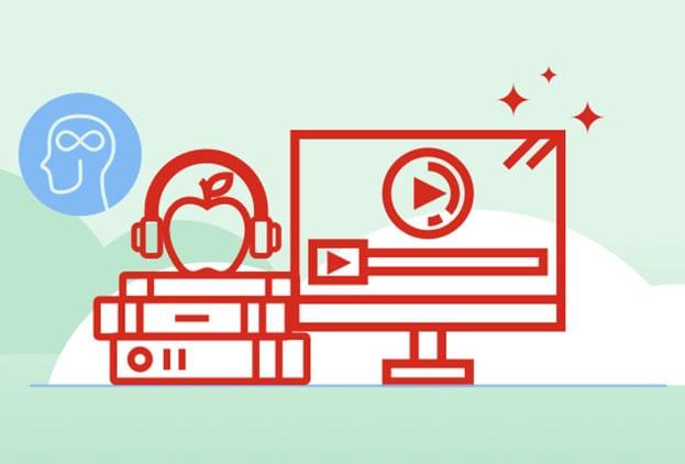Diverse illustraties naast elkaar: zij-aanzicht hoofd, appel met headset op, boeken, monitor pc