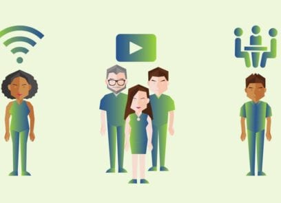 illustraties van vijf personen met daarboven zwevend iconen van wifi, YouTube afspeelbutton en drie personen om een tafel.