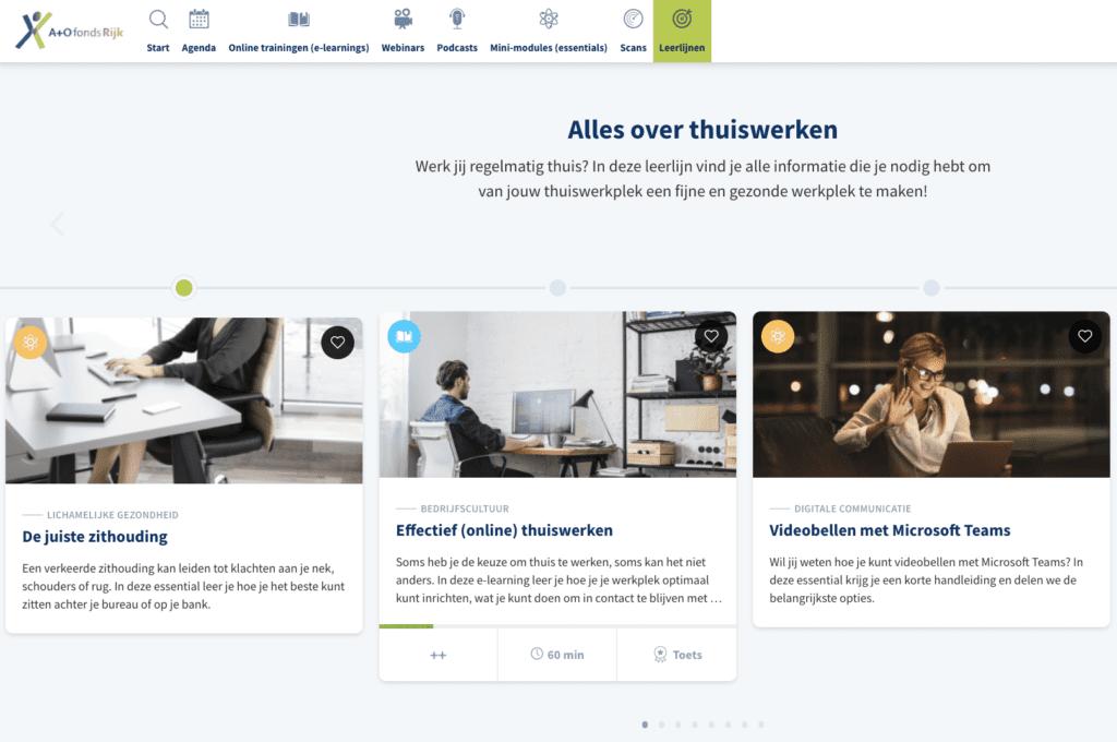 screenshot van drie modules binnen de omgeving werken aan jouw toekomst, leerlijn thuiswerken