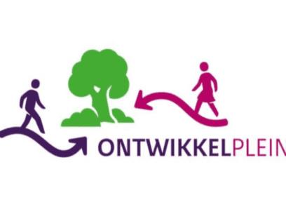Twee peilen met daarop een mannelijk en vrouwelijk icoon die lopen richting een boom in het midden. Daaronder in letters: ontwikkelplein.