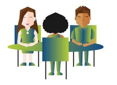 Illustratie van drie figuren zittend aan een tafel