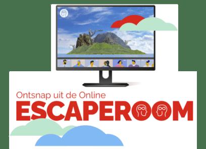 ontsnap uit de online escaperoom, met daarnaast afbeelding van een beeldscherm