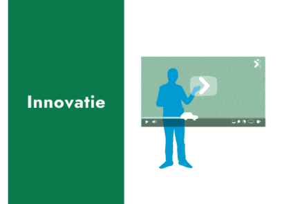 Tekst: innovatie. Met daarnaast een illustratie van een figuur die een digitaal videoscherm aanraakt.