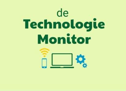 De Technologie Monitor met afbeeldingen telefoon, laptop en radars
