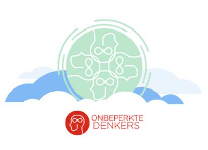 Tekst Onbeperkte Denkers, met logo en decoratieve illustratie