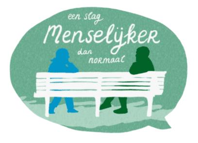illustratie van twee figuren op bank, met tekst: een slag menselijker dan normaal