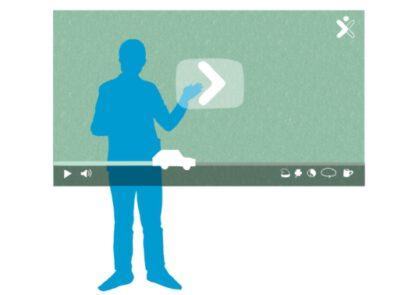 illustratie van een figuur die een digitaal videoscherm aanraakt