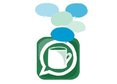 icoon van kop koffie met daarboven spraakwolkjes