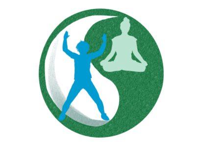 yin en yang symbool, daarin illustraties van een sportende persoon en een persoon in yogahouding